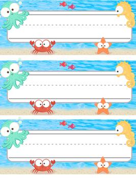 Nameplate - Underwater Sea animals Theme