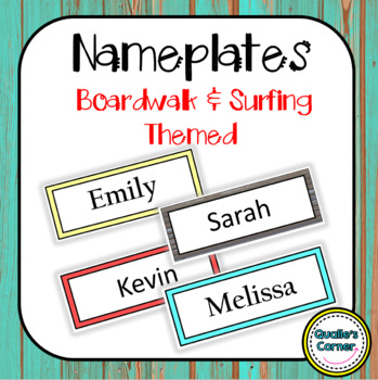 Nameplate or Labels in Boardwalk & Surfing Theme