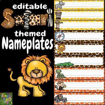 Editable Nameplates- African Safari Theme