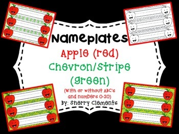 Nameplates - Apple (red) with Chevron or Stripes (green)