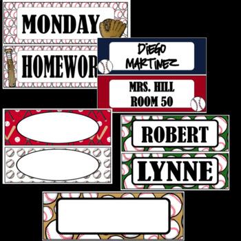 Baseball Theme Nameplates  ~ Editable