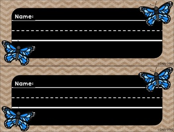 Nameplates (Butterfly, Blue, Black & Burlap Theme)