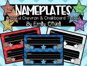 Nameplates (Colorful Chevron & Chalkboard Theme)