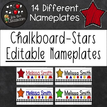 Nameplates EDITABLE - Chalkboard Stars Decor