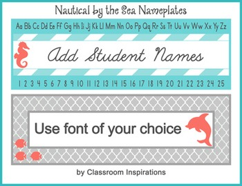 Nameplates – Editable Labels - Nautical by the Sea Classroom Theme