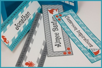 Nameplates – Editable Labels - Nautical by the Sea Classro
