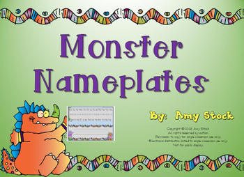 Nameplates:  Monster theme