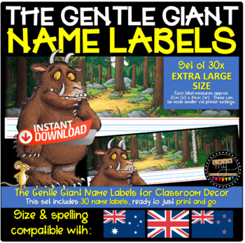 Name Labels   The Gentle Giant   AUS/NZ/UK Compatible