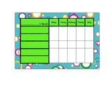 Nameplates and Behavior Charts: Colorful Random Circles on Aqua