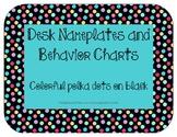 Nameplates and Behavior Charts: Colorful mini polka dots on black