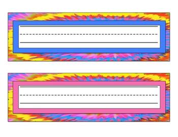 Nameplates and Behavior Charts: Tie-dye