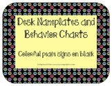 Nameplates and Behavior Charts:Colorful peace signs on black