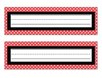 Nameplates and Behavior charts: Red with white polka dots
