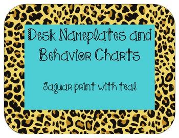 Nameplates and behavior charts: Jaguar print with teal