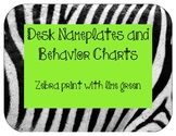 Nameplates and behavior charts: Zebra print with lime green
