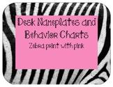 Nameplates and behavior charts: Zebra print with pink