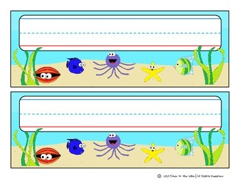 Classroom Decor: Name Tags for Desks - Under the Sea Themed