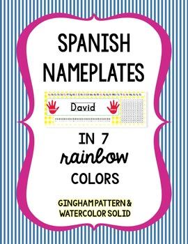 Nameplates in Spanish - Bright - Editable