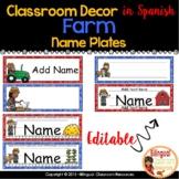 Name Plates l Editable Name Plates in Spanish l Freebie l Farm