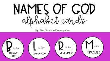 Names Attributes Of God Alphabet Cards By The Christian Kindergarten