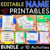 Names - EDITABLE Name Printables and Activities BUNDLE