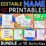 Names - EDITABLE Name Printables and Activities BUNDLE | Distance Learning