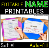 Names - EDITABLE Name Printables and Activities Set 1