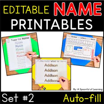 Names - EDITABLE Name Printables and Activities Set 2