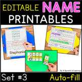 Names - EDITABLE Name Printables and Activities Set 3
