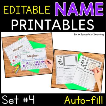 Names - EDITABLE Name Printables and Activities Set 4