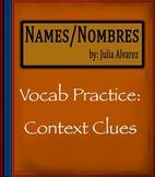Names Nombres by Julia Alvarez - Vocabulary Practice: Cont