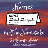 Names in The Namesake by Jhumpa Lahiri   Handout   Activities