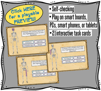 Names of the Bones Boom Cards   Multiple Choice Flash Cards