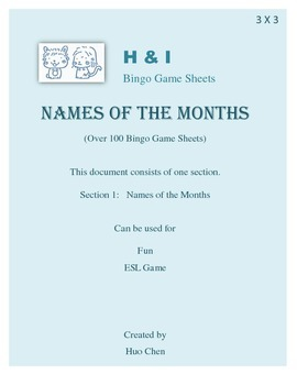 Names of the Months Bingo Game (H&I Bingo Game Sheets) - 3 X 3