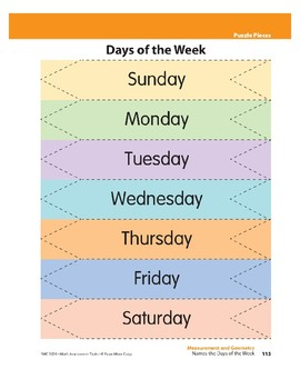 Names the Days of the Week (Measurement)