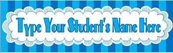 Desktag: Blue Striped Scallop (Editable)