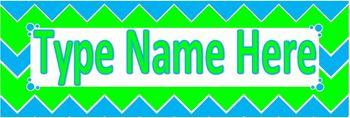 Desktag Template Blue and Green Chevron
