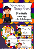 Nametag templates - editable - colorful customizable name labels