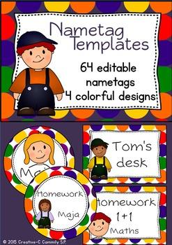 Nametag templates - editable - colorful customizable name labels