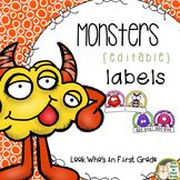 Monster Labels Small Nametags Editable