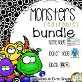 Nametags, Locker Tags, Labels Bundle Monster Theme