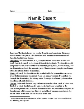 Namib Desert - review article facts information - questions - lesson