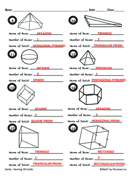Solids - Naming Solids from 3D Figures