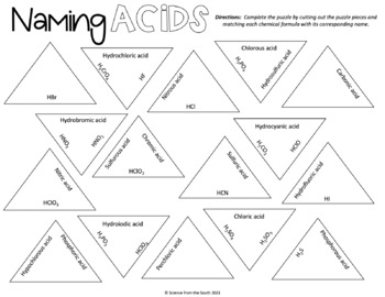 Naming Acidic Compounds Puzzle for Review or Assessment