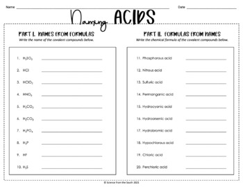 Naming Acidic Compounds Worksheet for Review or Assessment