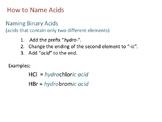 Naming Acids and Determining Acid Formulas