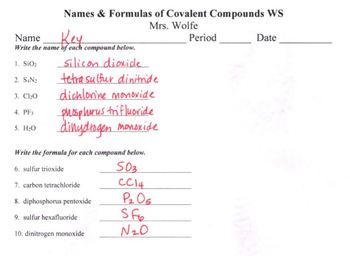 Naming Ionic and Covalent Compounds Separately WS (Bundle of 2)
