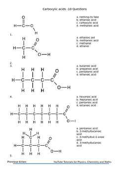 Naming Carboxylic acid for AP chemistry inc. answers and e