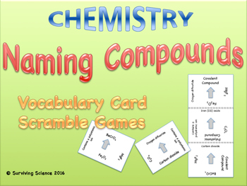 Naming Chemical Compounds Scramble Card Game