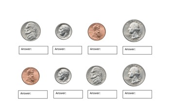 Naming Coins Worksheet